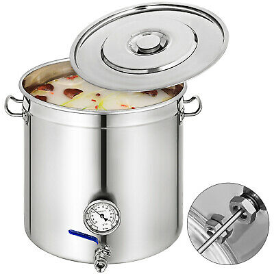 Stainless Steel Home Brew Kettle Brewing Stock Pot Beer w/Thermometer Lid