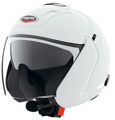 Caberg Downtown S BT open Face Motorcycle Helmet With Sun Inner Visor - White
