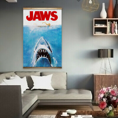 Huge 90cm x 140cm Jaws Canvas Movie Poster Vintage Retro 80's Mancave Amity PD