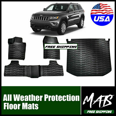 QUAKEWORLD 1st /& 2nd Front Row and Rear OEM Floor Liner Set Front /& Rear Floor Mats for 2014 2015 2016 2017 Jeep Grand Cherokee All Season Rubber Floor Mat