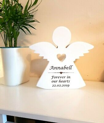Personalised Engraved Wooden Heavenly Angel Freestanding Shelf Decoration