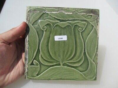 Antique Ceramic Tile Vintage Floral Flower Gilt Leaf Art Nouveau Vintage Old