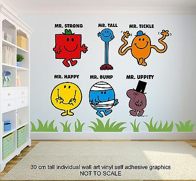 MR MEN CHARACTERS SET OF 6 Childrens Bedroom 30cm tall Wall Stickers