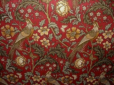 Oakmere Carmine Cotton Curtain Upholstery Quilting Fabric William Morris Style