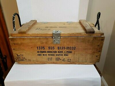 Wood  Dynamite Crate with lid and latch