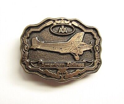 1970's Vintage Licensed American Airlines Brass Belt Buckle Hallmarked Oden
