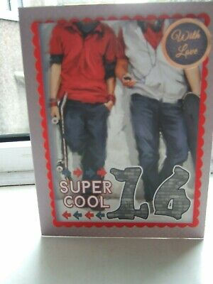 Teenage Male Themed Handmade Super Cool 16Th Birthday Card
