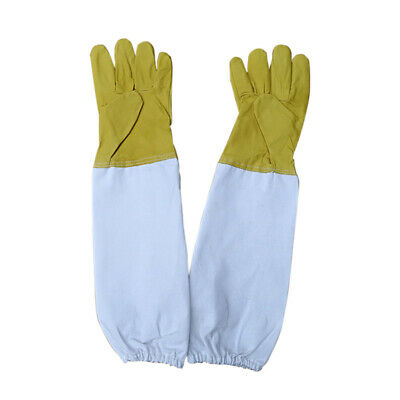 2PCs Beekeeping Bee Gloves Soft Gold Leather Cotton Gloves Beekeeper Long Sleeve