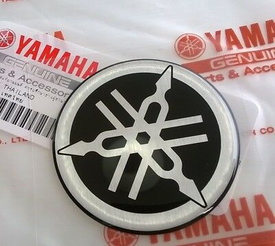 50mm YAMAHA TUNING FORK BLACK/SILVER GEL DECAL STICKER BADGE LOGO *UK STOCK*
