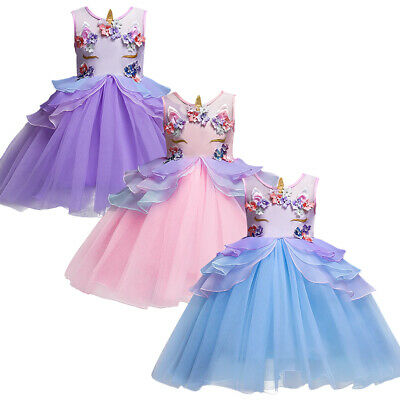 f26d9a35abe Unicorn Costume Cosplay Birthday Halloween Bridesmaid Tutu Dress for Kids  Girls