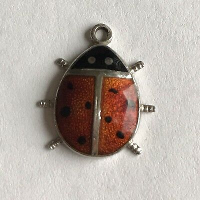 Sterling Silver .925 Vintage Charm Ladybug Lady Bug Wells Enameled