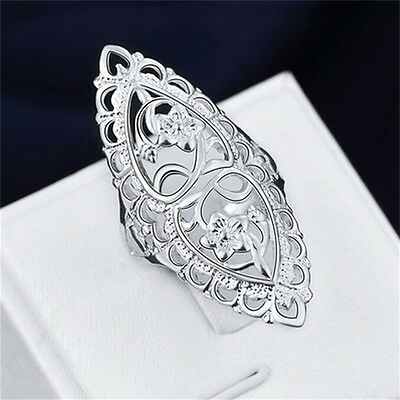 Fashion Cute 925 Sterling Silver Filled Hollow Big Ring Ladies Women Rings Gut