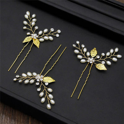 3x Gold Pearls Wedding Bridal  Hair Pins Accessories  Diamontes Bridesmaid girl