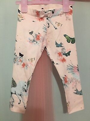 New Baby Girls Designer Ted Baker Pink Unicorn Pegasus Print Leggings 12-18m🦄🦄