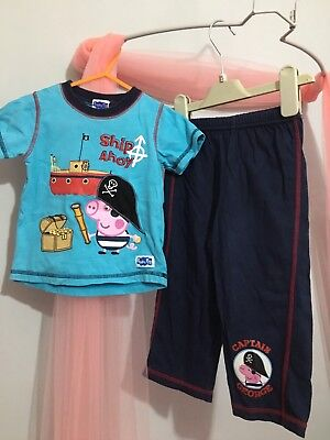 Cute Baby Boys Blue Pirate Peppa Pig Pyjamas 12-18m🐷