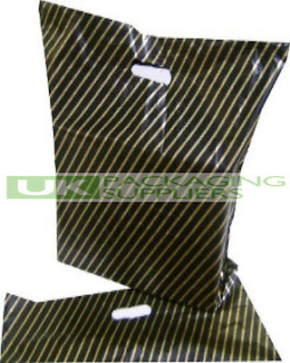 """100 SMALL 7.5 x 10"""" BLACK + GOLD STRIPE PLASTIC CARRIER GIFT PARTY BAGS - NEW"""