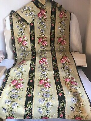 Vintage Fabric Panel Yellow Pink Purple  Floral Textile 270cm /French Home Decor