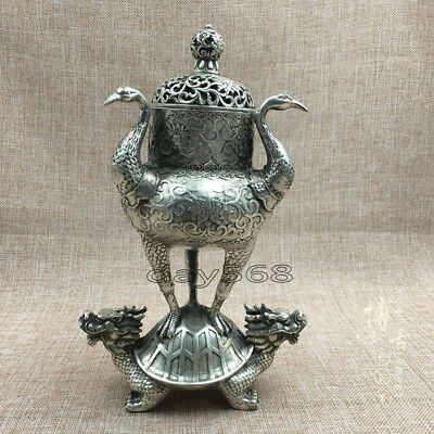 Old China handwork Tibetan silver crane dragon turtle Incense Burners