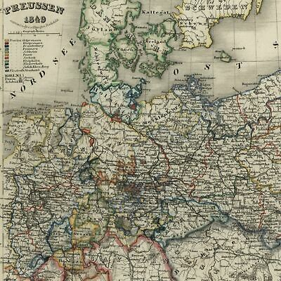Germany Prussia Poland East Sea 1849 Meyer detailed map