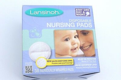 NEW Lansinoh Disposable Stay Dry Day & Night Nursing Pads 36 Count In Box