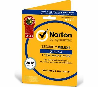 Norton ( Internet ) Security Antivirus All In ONE 5 PCs 1 Year Retail 2018 UK