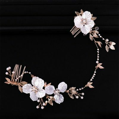 Wedding Bridal Hair Accessories Flower white Head Piece Pearls Gold Bride comb 1