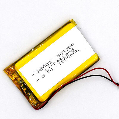 3.7V 503759 1300mAh with 1.0 connector Rechargeable Battery LiPolymer for GPS