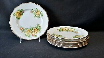Royal Albert England Bone China Tea Rose Yellow Set of 8 Salad Plates (Faults)