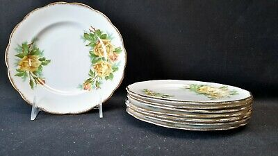 Royal Albert England Bone China Tea Rose Yellow Set of 8 Dessert Pie Plates
