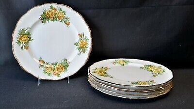 Royal Albert England Bone China Tea Rose Yellow Set of 6 Dinner Plates (Faults)