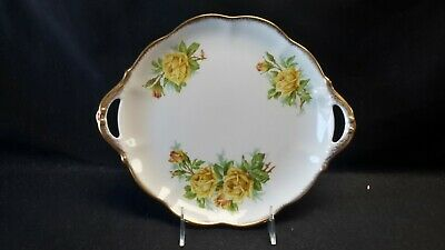 Royal Albert England Bone China Tea Rose Yellow Open Handle Cake Plate