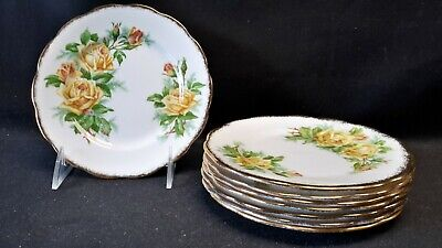 Royal Albert England Bone China Tea Rose Yellow Set of 8 Bread & Butter Plates