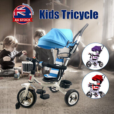 Reverse Baby Kid Toddler Tricycle Bike Trike Ride-On Toys Stroller Prams +