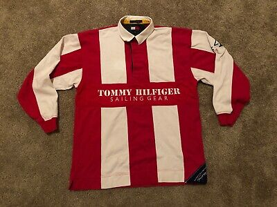fc384efd Vintage 90s Tommy Hilfiger Polo Rugby Shirt Big Logo Sailing Spell Out  Medium