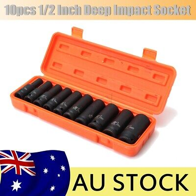 10Pcs 1/2'' Drive Deep Impact Socket Set Metric Garage Workshop Air Tools AU