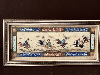 PERSIAN  VTG Hand Painted  Horses RaceBeautiful Picture  with Inlaid Wood  Frame