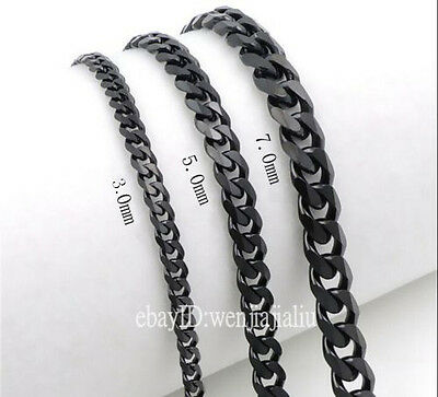 3/5/7mm MENS Boys Chain Black Tone Curb Jelwery Stainless Steel Necklace 18-36''