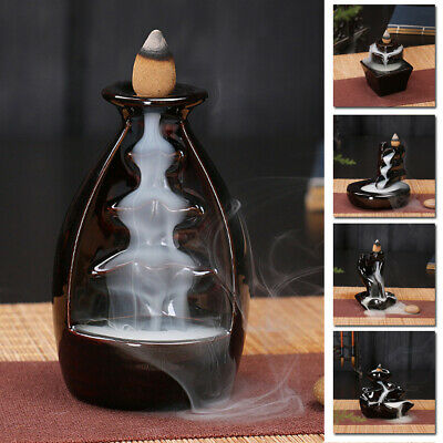 Classical Ceramic Mountain Waterfall Smoke Backflow Incense Burner Cones Holder