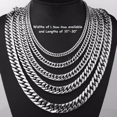 2-15mm Men's Stainless Steel Silver 316L Curb Link Chain Chunky Necklace Chains
