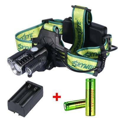 Zoomable  3X T6 LED USB Headlamp 35000LM Light Bike Torch +18650 +Charger PK