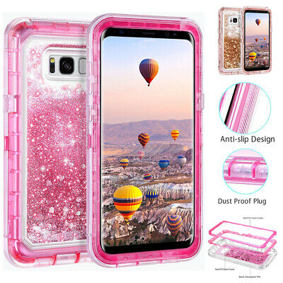 For Samsung Galaxy S8/S9/S10 Plus S10e Quicksand Bling Liquid Glitter Case Cover