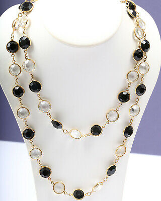 Black and Clear Crystal Vintage 1940s Necklace