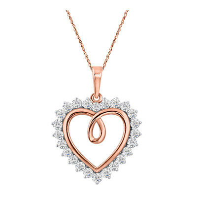 "Heart Shape Round Diamond Pendant Necklace 18"" 14K Rose Gold Over 925 Silver"