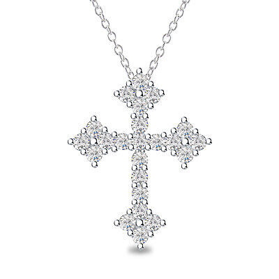 "Round Diamond 14K White Gold Plated 925 Silver Cross Pendant Necklace 18"" Chain"