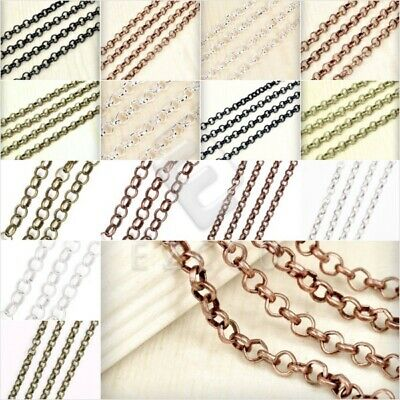 2/4m Premium Unfinished Rollo Chain Bulk Craft Necklace Jewelry Findings PWCH