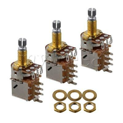 3 Pieces 16mm Base Dia A500K Gold Plated Shaft Audio Volume Guitar Potentiometer