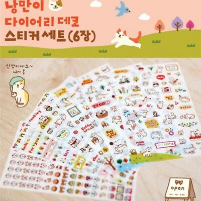 #70 Toto Cat Rabbit 1st generations cute deco PVC stickers 6 sheets//set