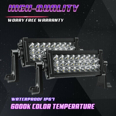 2x 7INCH 36W LED WORK LIGHT BAR SPOT OFFROAD 4WD BOAT ATV SUV FOG DRIVING LIGHTS