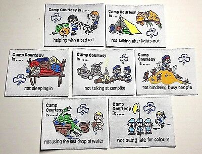 7x Australian Girl Guides CAMP COURTESY IS ...  BADGES - 7 Nice collector badges