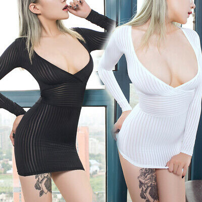 Sexy Women Sheer Long Sleeve Mini Dress Deep V-neck Clubwear Bodycon Cocktail